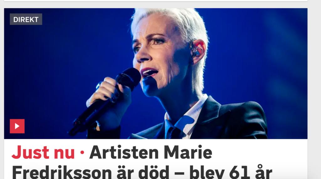 Скончалась Мари Фредрикссон из Roxette