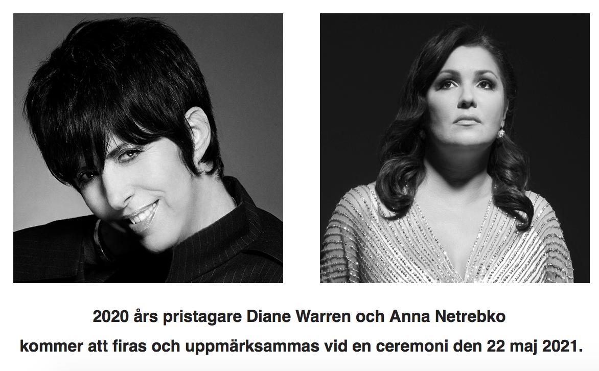 Церемония награждения обладателей шведской музыкальной награды Полар мьюзик прайс за 2020 год переносится на 2021 год из-за COVID-19