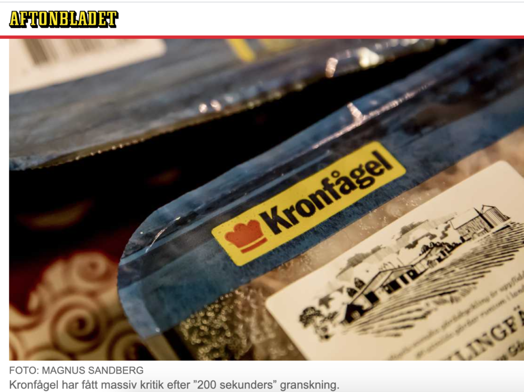 Обработка кур известного в Швеции производителя обернулась приостановкой в закупках во многих городах страны